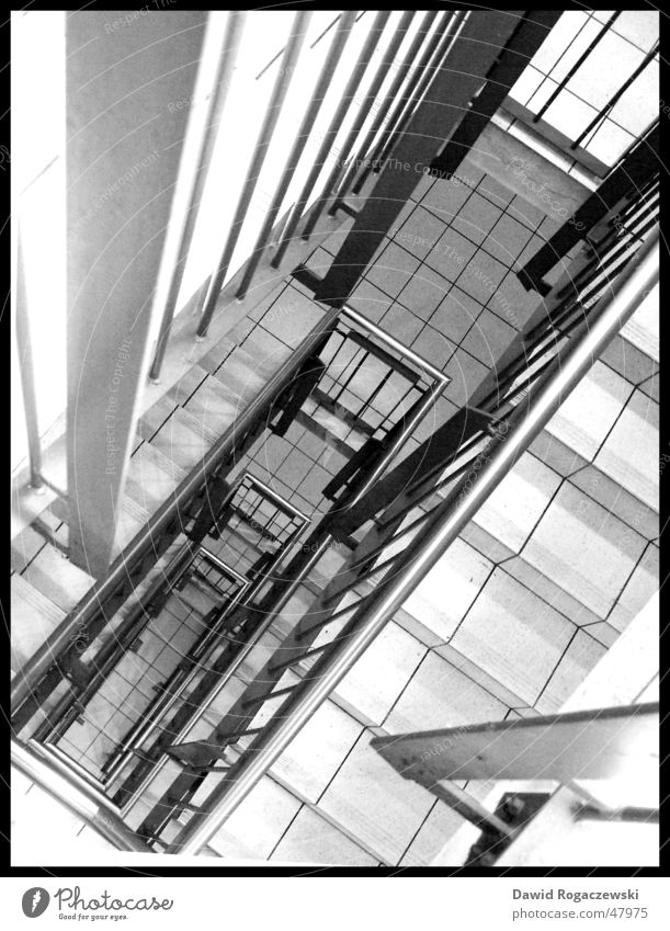 look down Under Stairs Black & white photo Looking Descent Sadness