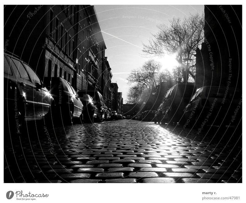 Black Sunbeam Cobblestones Winter Autumn White Glittering Street Car Escape Empty