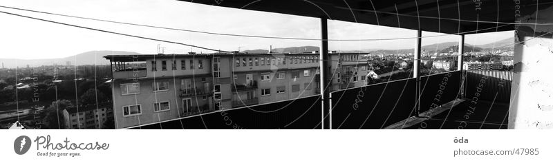 Old Wall (barrier) Large High-rise Vantage point Balcony Handrail Panorama (Format) Hideous Prefab construction Clothesline Graz