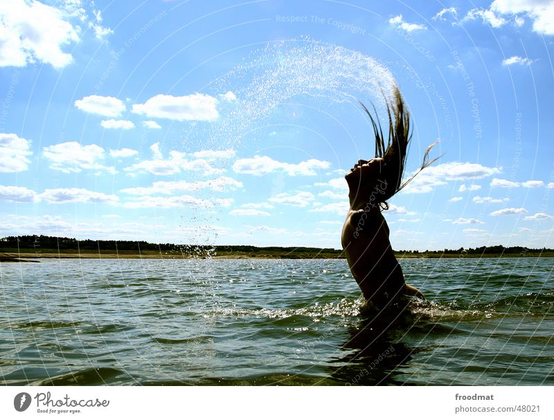 Sky Water Sun Summer Clouds Waves Swimming & Bathing Drops of water Action Long-haired Swing Emerge