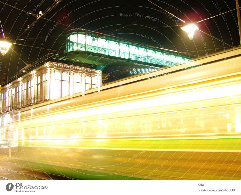 In Motion Tram Long exposure Light Night Graz Lamp art house Movement