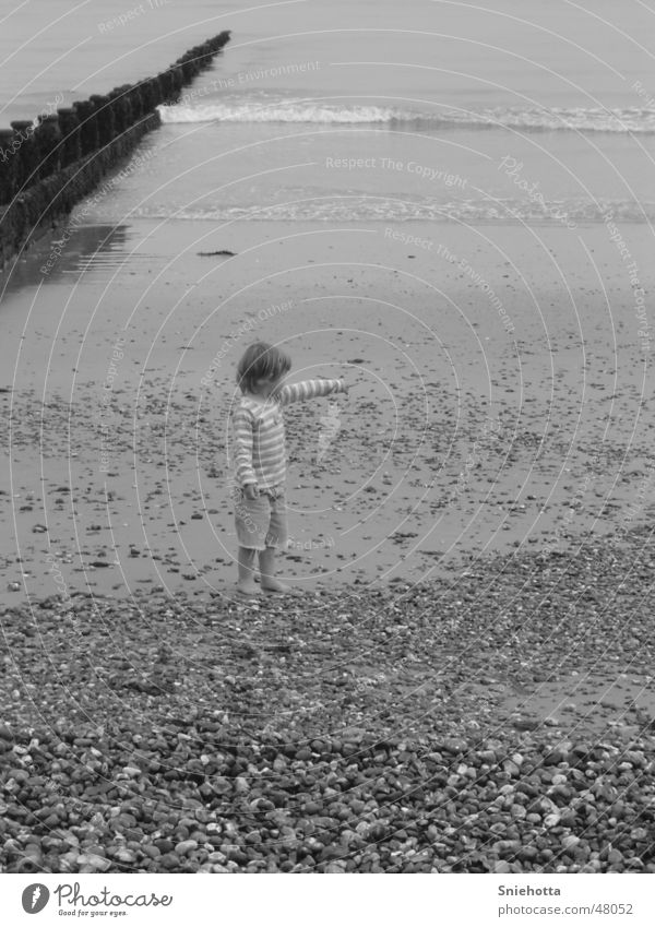 Child Water Girl Ocean Beach Stone England