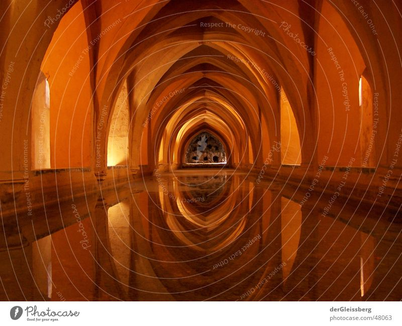 spanish vault, spanish arch Arcade Prop Soft Light Brown Spain Reflection Safety (feeling of) Contentment Calm Masonry Corner Interior shot Domed roof