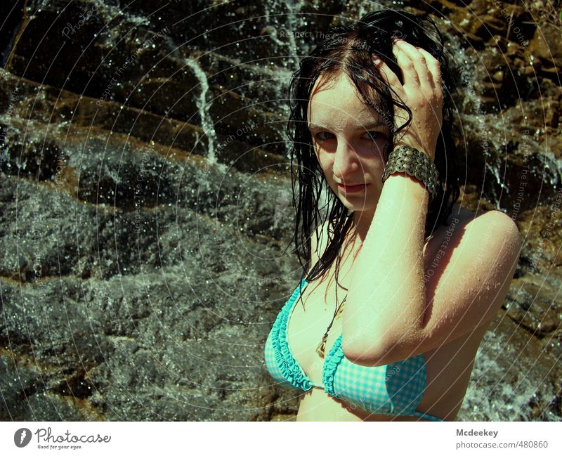 Human being Nature Youth (Young adults) Blue Water White Summer Young woman Landscape Black Face Adults 18 - 30 years Mountain Warmth Eroticism