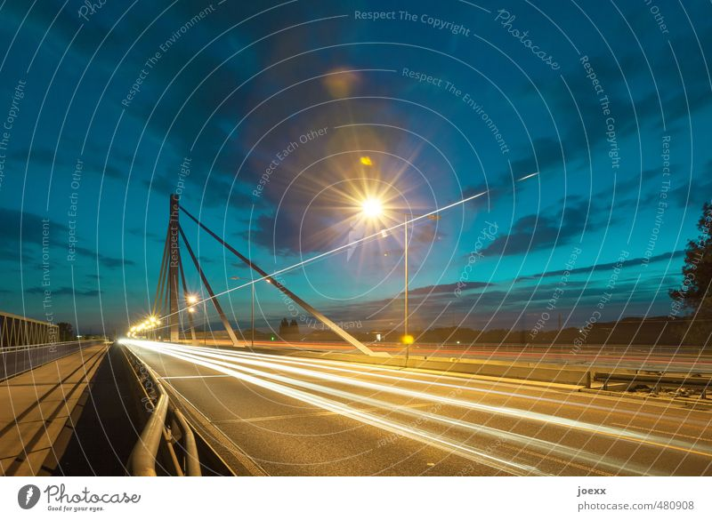 Highlights II Sky Clouds Bridge Transport Traffic infrastructure Motoring Street Highway Bright Blue Brown Yellow Future Colour photo Multicoloured