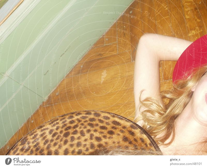 The Leopard Girl Blonde Turquoise Wood Red Pattern Parquet floor Headwear Clothing Stupid Light blue Crazy Accessory Joy Club Hat Skin Curl Bright