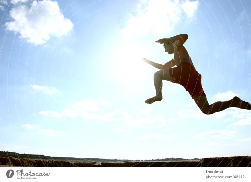 Human being Sky Sun Summer Joy Clouds Meadow Cold Sports Movement Freedom Happy Jump Style Funny Flying