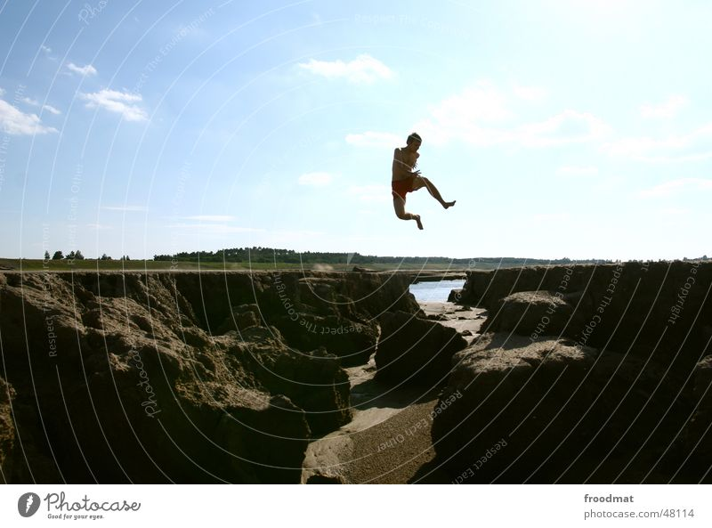 from nowhere to nowhere Jump Action Lake Summer Hover Movement Mining Sand Water Sky Silhouette Flying Joy fun Sun