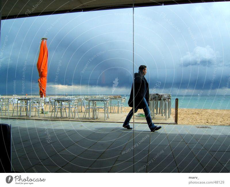 Ocean Beach Clouds Sand Café Sunshade Spain Barcelona
