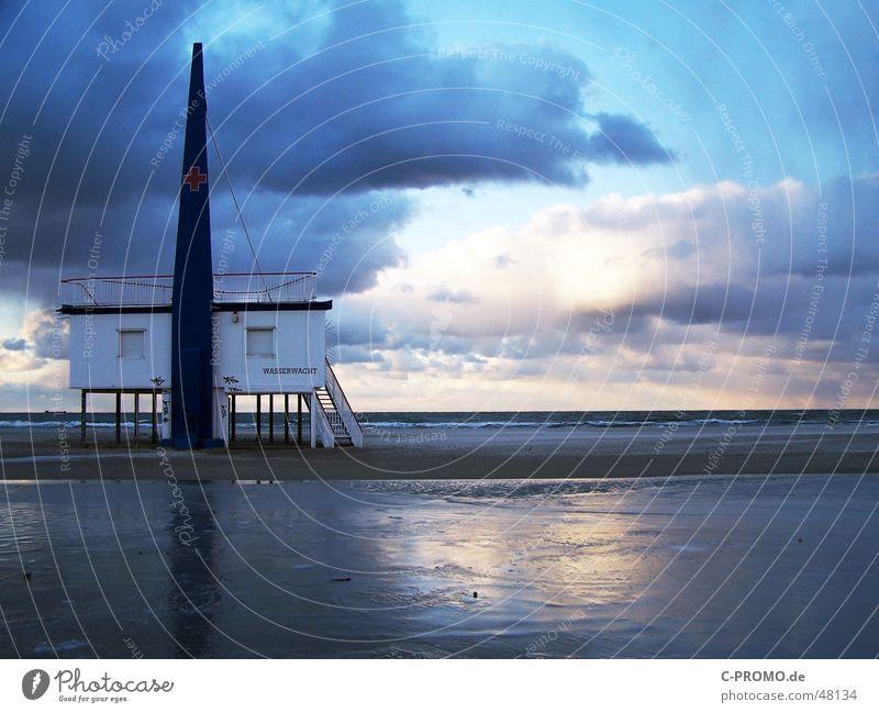 Waterguard Baltic Sea Warnemünde Water rescue Mood lighting Calm Clouds First Aid Medic Beach Loneliness Break Exterior shot Ocean Sky Peace Field recording