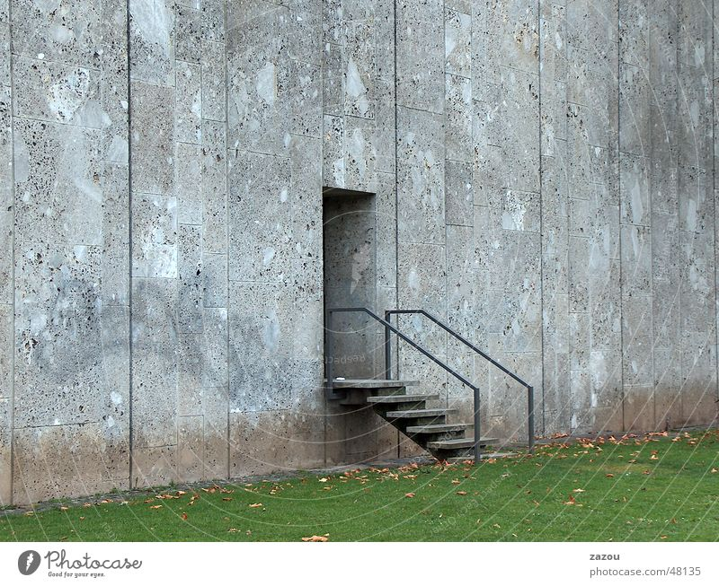 Exit to the green! Way out Concrete Grass Entrance Wall (barrier) Stuttgart Loneliness Door Stairs Lawn Construction site Sadness