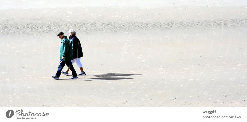 Ocean Beach Loneliness Couple Sand Together Walking In pairs Long Human being