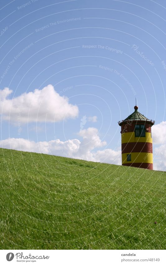 Nature Water Sky Ocean Clouds Meadow Grass Tower Lighthouse Dike East Frisland Pilsum
