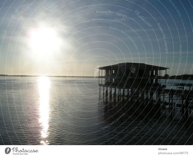 Water Sky Sun Ocean House (Residential Structure) Island Hut Cuba Pole Afternoon Honduras Utila