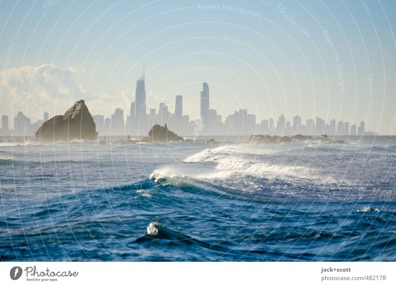 pan for gold Clouds Horizon Wind Waves coast Pacific Ocean surfers' paradise Gold Coast Skyline Architecture Moody Advancement Haze Tropical White crest