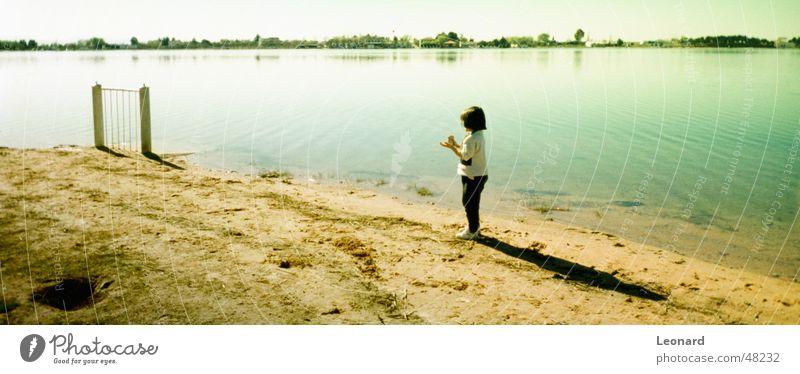 Child at the lake Lake Girl Fold Panorama (View) Sky Water Shadow shade Large Panorama (Format)