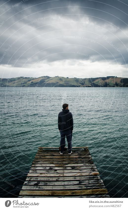 Nature Youth (Young adults) Water Ocean Loneliness Calm Landscape Clouds Young man Environment Life Sadness Death Wood Masculine Wait