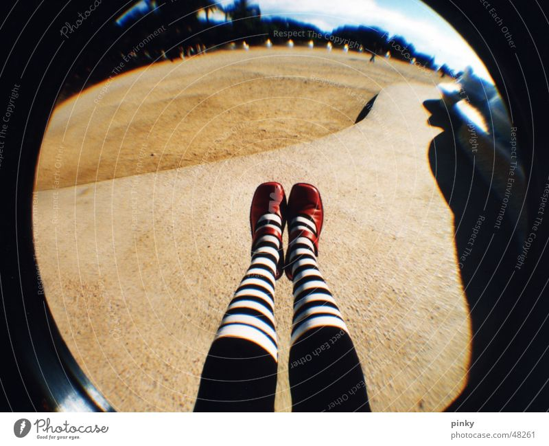 Alice in Wonderland Güell Park Striped Fairy tale Summer Striped socks Barcelona Fisheye Shadow Darken Dream Lomography red shoes white stripes lewis carroll