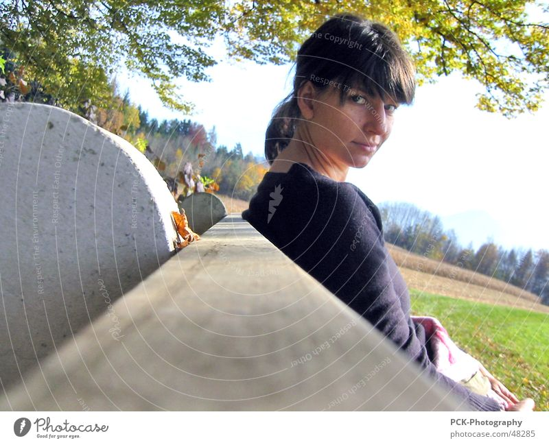 Woman Eyes Autumn Landscape Wood Wait Perspective Cool (slang) Bench Passion Snapshot Alluring Audacious Pervasive