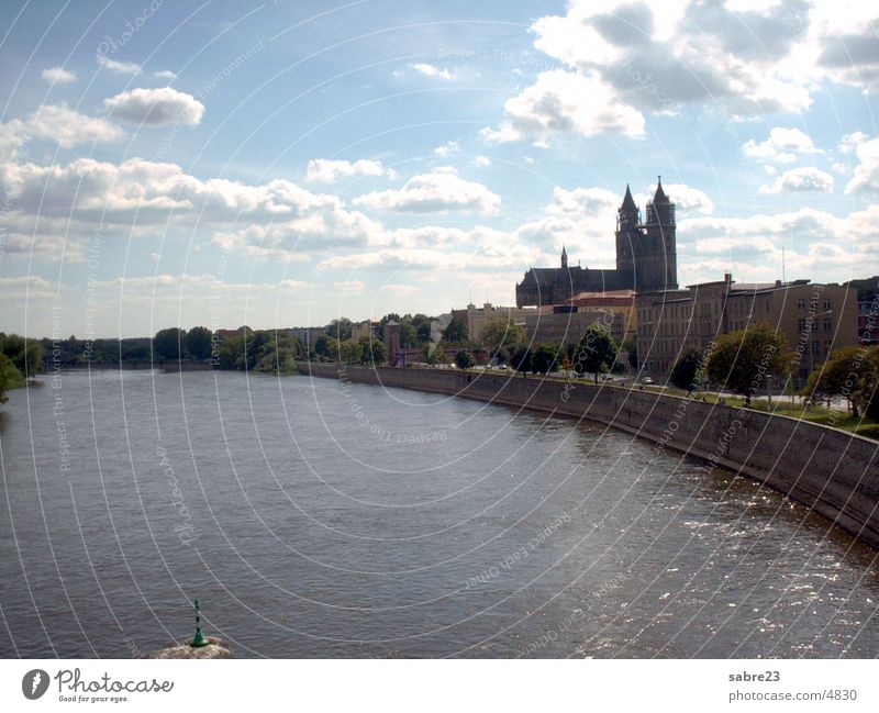 elbe in magdeburg with dom Magdeburg Town Dome Elbe River Water church
