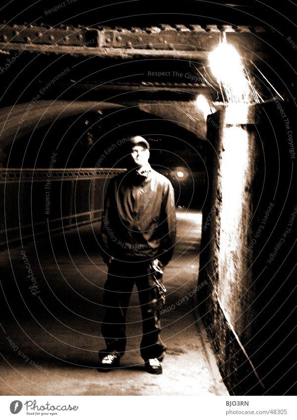 Human being Man Black Loneliness Dark Bright Bridge Idea Sepia Awareness