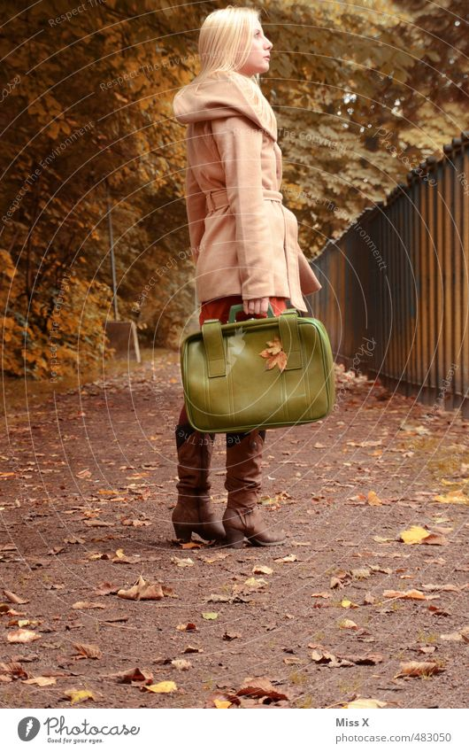 Go on Vacation & Travel Trip Adventure Freedom Human being Feminine 1 18 - 30 years Youth (Young adults) Adults Autumn Tree Lanes & trails Coat Blonde Emotions