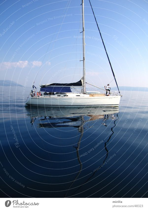 slack Sailing Sailing ship Sky Reflection Waves Ocean Slowly Water sea Mediterranean sea Blue slow