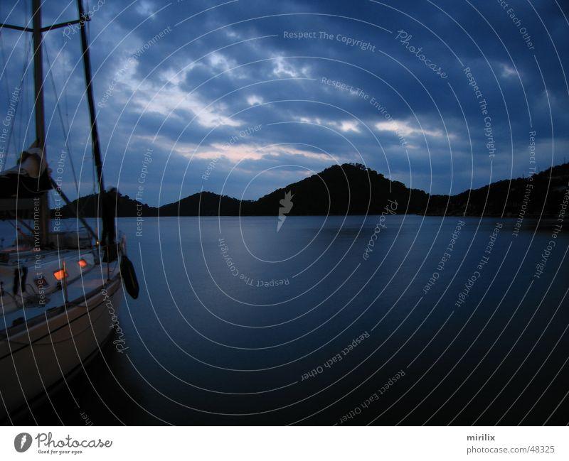 Water Sky Ocean Blue Clouds Waves Harbour Sailing Sailing ship Mediterranean sea