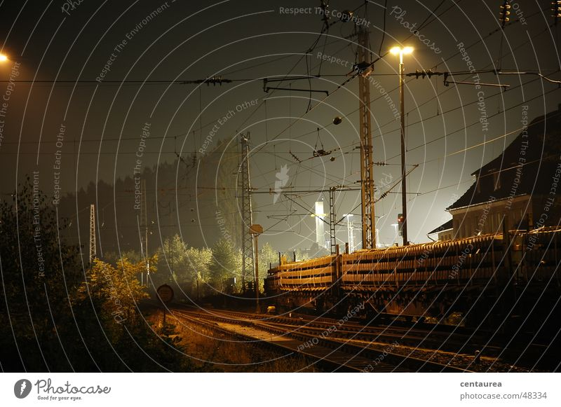 Laying of new tracks Railroad tracks Night Train station Light Work and employment Osnabrück district ...