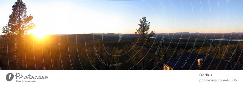 Wide Panorama (View) Dalarna Forest Sun Sky Vantage point Large Panorama (Format) Sunset