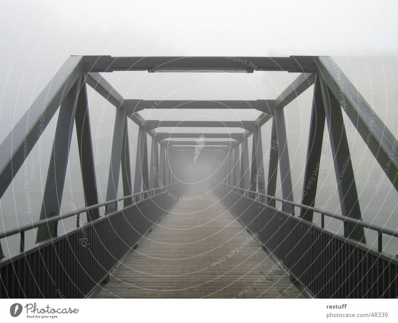 bridge in the fog Fog Steel Construction Gray Aspire Iron Wood Loneliness Bridge Handrail Wooden board grey lonelyness Sadness