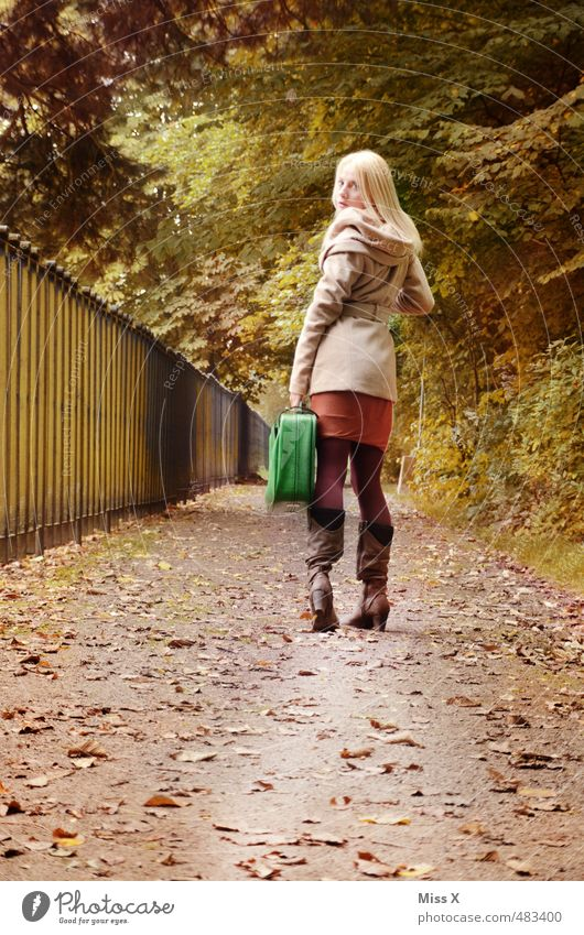 Human being Nature Youth (Young adults) Vacation & Travel Young woman Leaf Far-off places 18 - 30 years Forest Adults Life Feminine Emotions Autumn