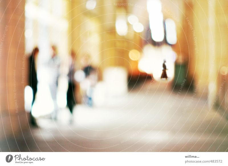 citytreff Human being Group Town Date To talk Passage City life Exclusion Colour photo Exterior shot Experimental Blur