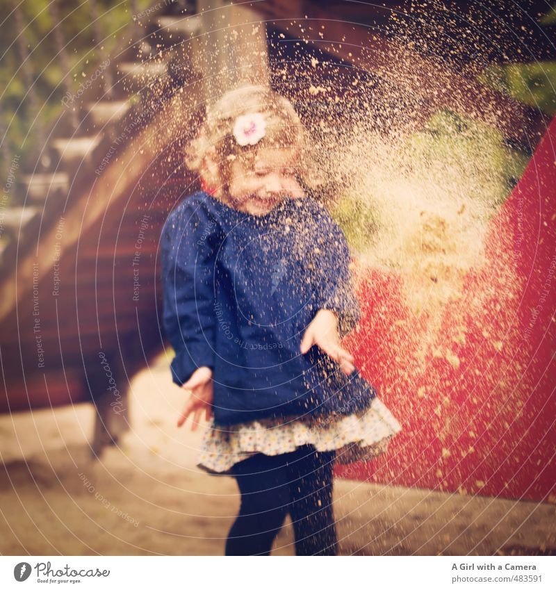 Human being Child Beautiful Girl Feminine Playing Sand Going Body Infancy Throw Playground 3 - 8 years Scare Sandstorm