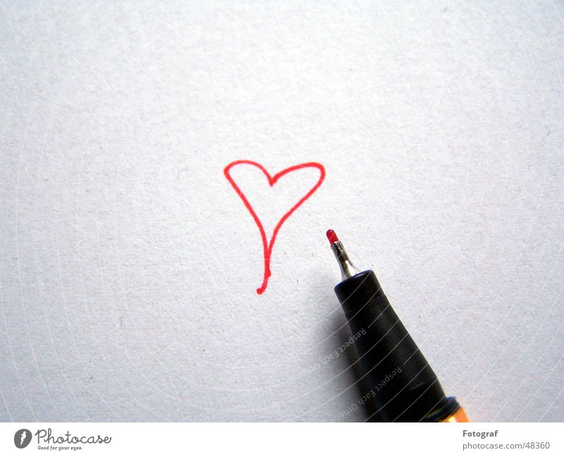 Red Love Heart Paper Painting (action, work) Pen Draw Swan Valentine's Day Conceptual design Ink Fineliner