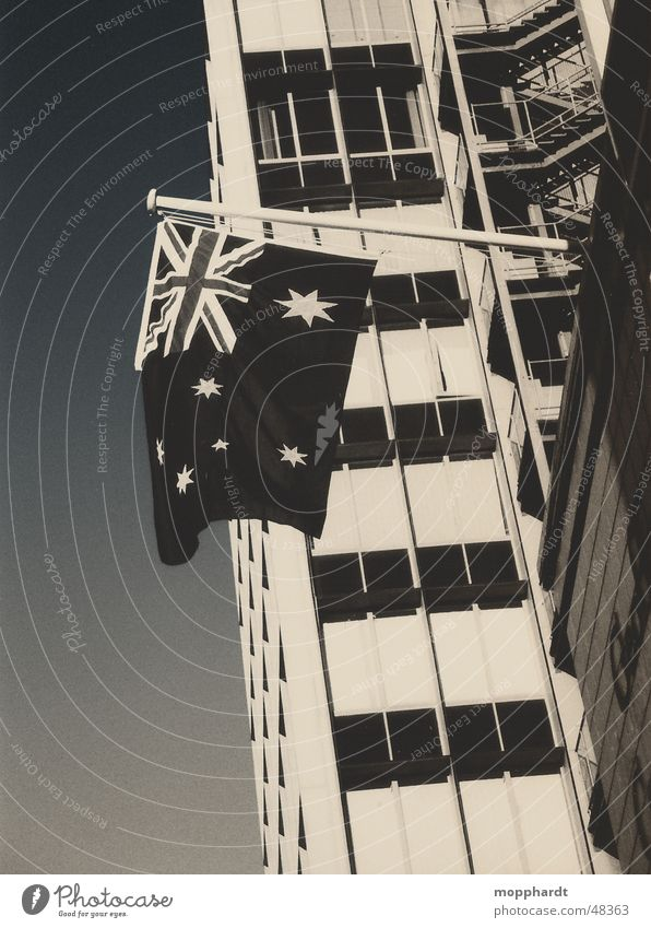 patriotism Australia Flag Union Jack High-rise Sydney Melbourne Adelaide Black & white photo Star (Symbol) Sky Stairs