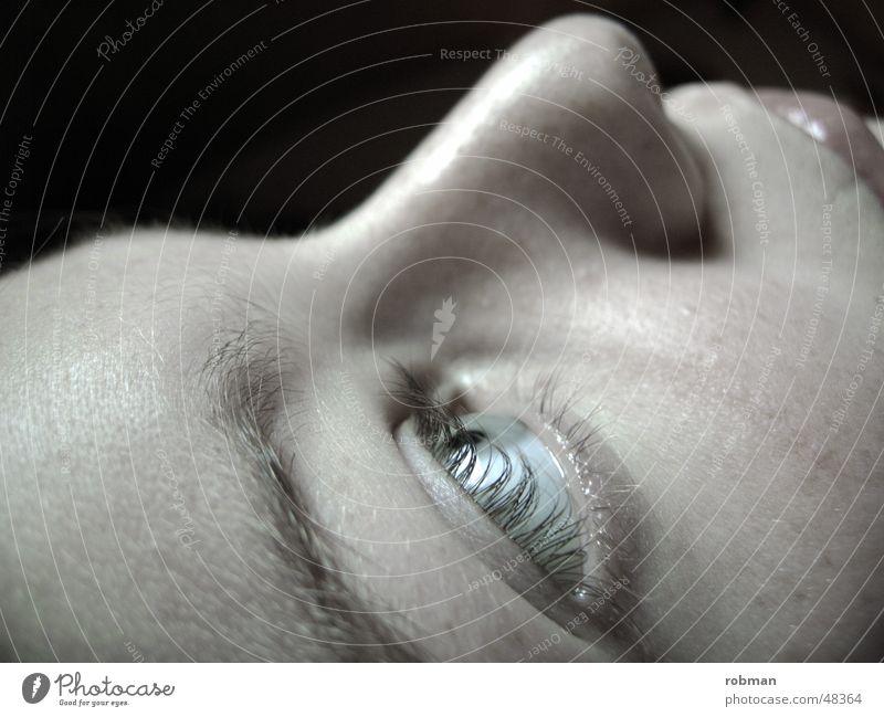 Woman White Face Black Eyes Nose Lips Eyelash
