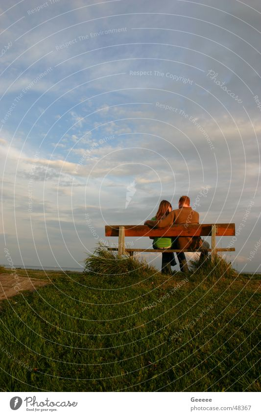 Sky Summer Couple In pairs Bench Idyll Dike