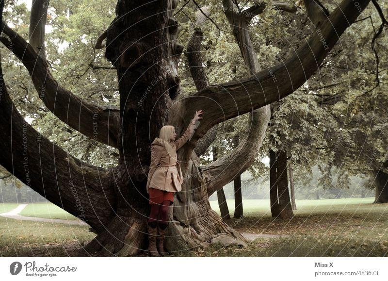 Octopus II Human being Feminine Woman Adults 1 18 - 30 years Youth (Young adults) Nature Tree Park Forest Coat Blonde Old Gigantic Emotions Moody Power