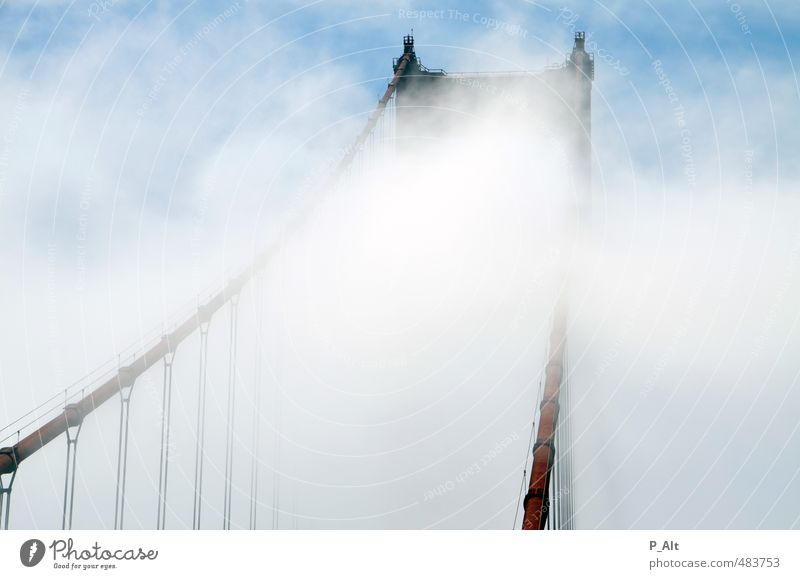 Heaven's Gate Bridge Building Tourist Attraction Landmark Golden Gate Bridge Esthetic Famousness Bright Tall Red Fog Clouds Wind Harbour Colour photo