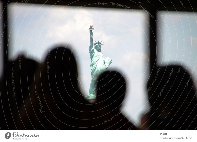 Statue Of ... Tourist Attraction Landmark Monument Statue of Liberty Free Bright Historic Gray Green Tolerant Hope Silhouette Head Frame Vantage point