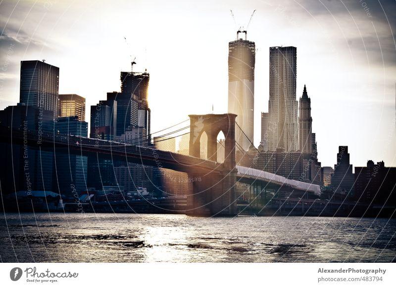 Idyll Bridge Skyline Capital city American Flag New York City Manhattan North America Brooklyn Brooklyn Bridge