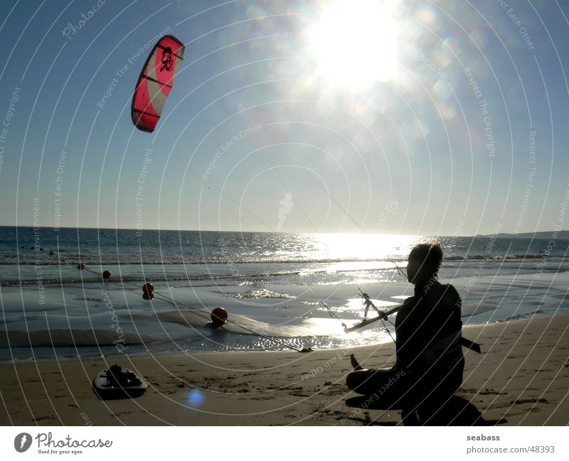 rest Kiting Kiter Ocean Calm Break Beach Far-off places Sun
