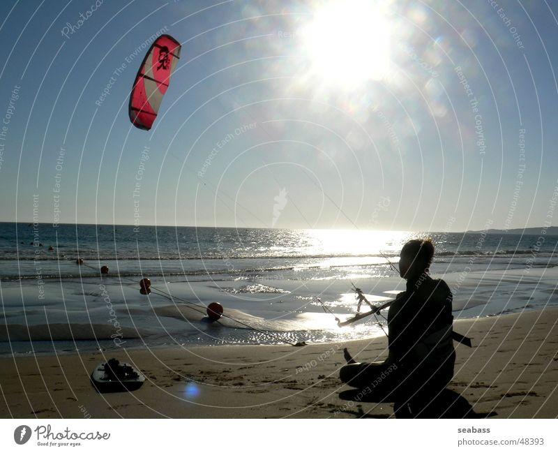 Sun Ocean Beach Calm Far-off places Break Kiting Kiter