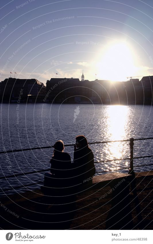 Water City Couple Lake Friendship Germany Hamburg In pairs Skyline Afternoon Alster