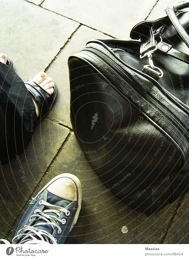 Ready To Leave Vacation & Travel Footwear Bag Trip Wait departure journey waiting shoe shoes travelling