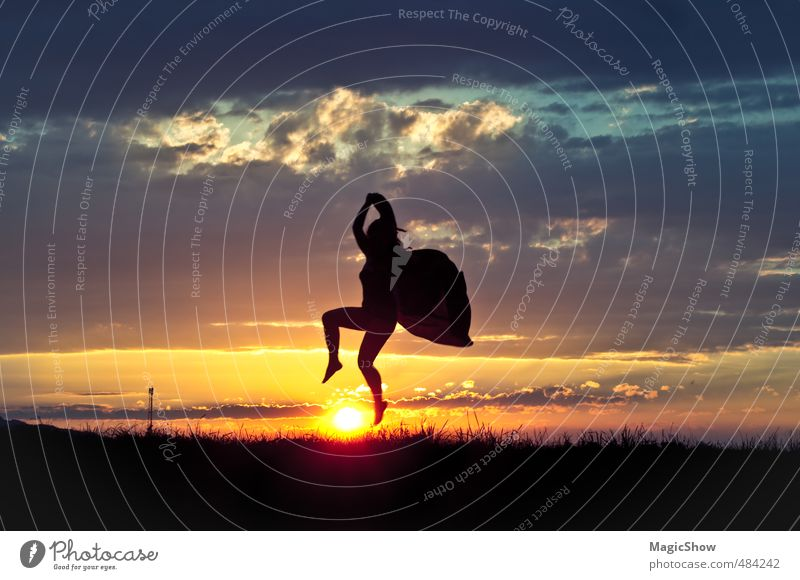 Butterfly over sun Life 1 Human being To enjoy Jump Dance Esthetic Athletic Emotions Dream Sunset Sky Clouds Silhouette Freedom Beautiful Fly Wing Harmonious
