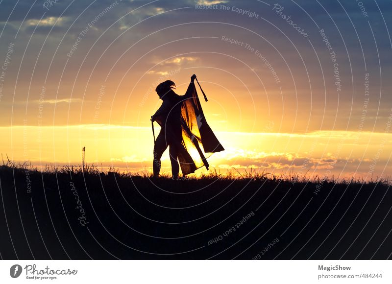 sunset dance Feminine 1 Human being Elegant Happiness Healthy Happy Natural Beautiful Romance Rag Grass Sky Light To go for a walk Idyll Magic Contrast Dance