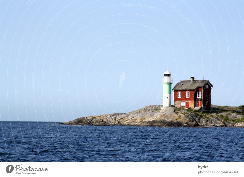 Lighthouse to the archipelago Vacation & Travel Summer House (Residential Structure) Cloudless sky Beautiful weather Rock Baltic Sea Skerry Swedish house