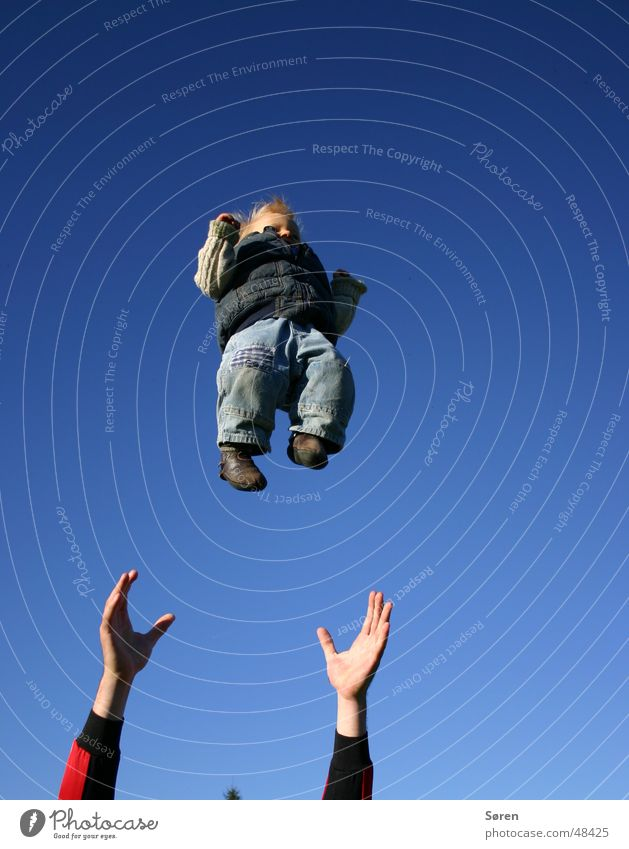 Child to give away Baby Hand Catch Trust Throw Sky Flying